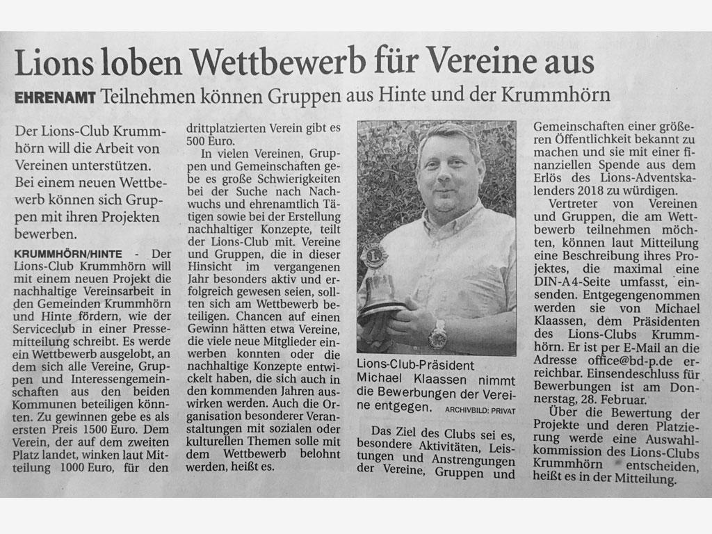 Lions Club Krummhörn Presse